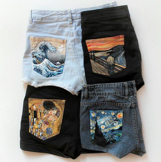 Short en jean avec poches customisées