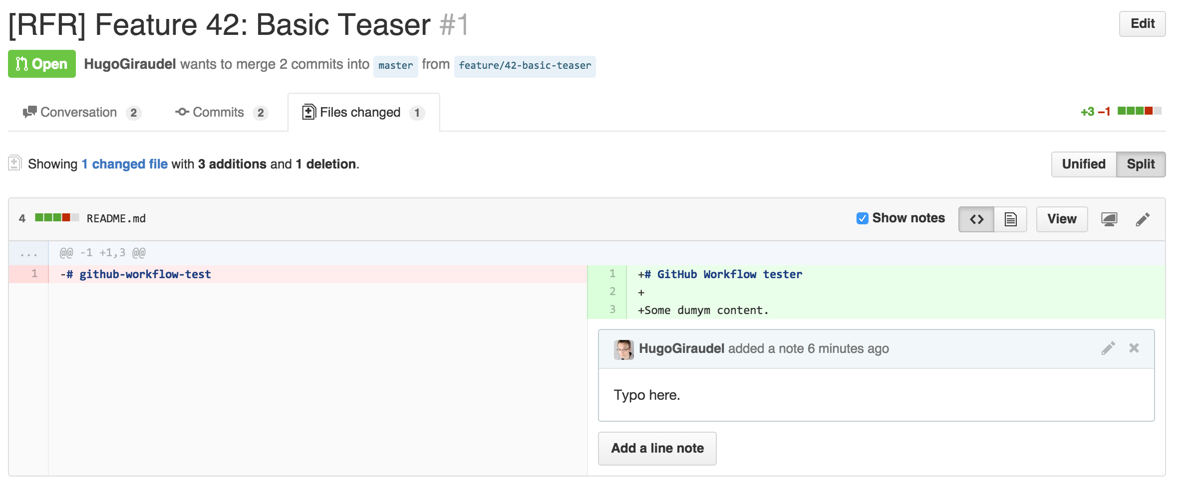 GitHub inline comments are the ideal way for collaborating on code