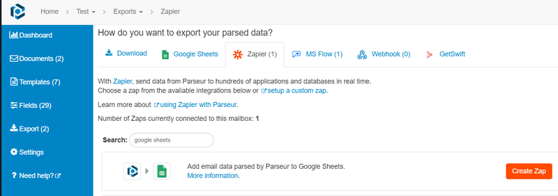 Google Sheets integration using Zapier