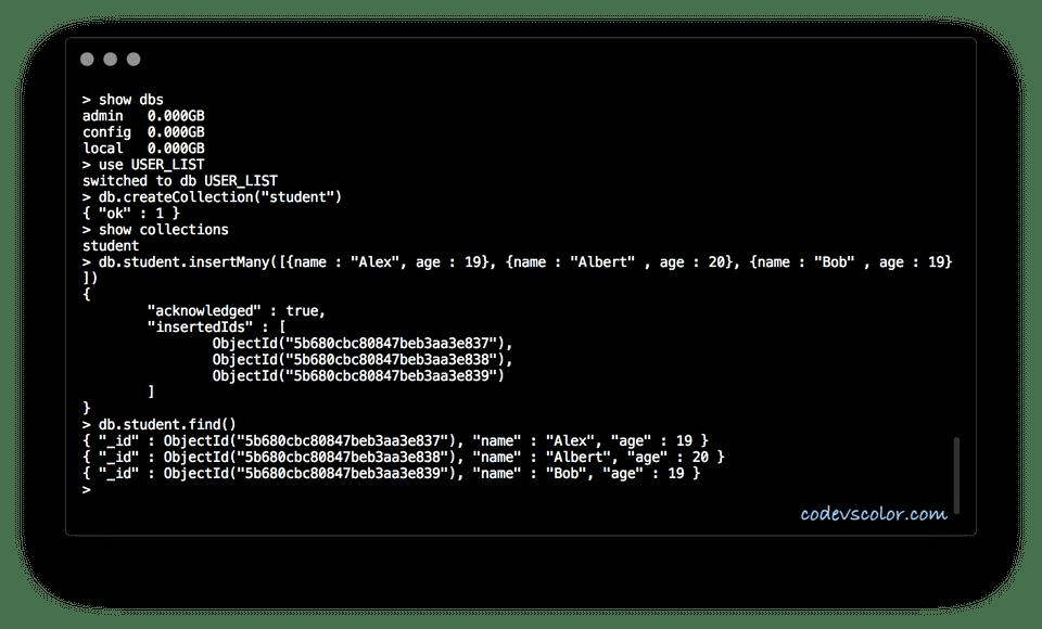 MongoDB insertMany