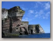 Old Red Sandstone cliffs, Bressay and Noss. Copyright Shetland Geotours  » Click to zoom ->