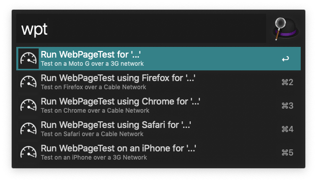 A screenshot of the options (listed below) for the WebPageTest Alfred workflow