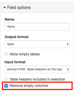 New Remove empty columns option for table Fields