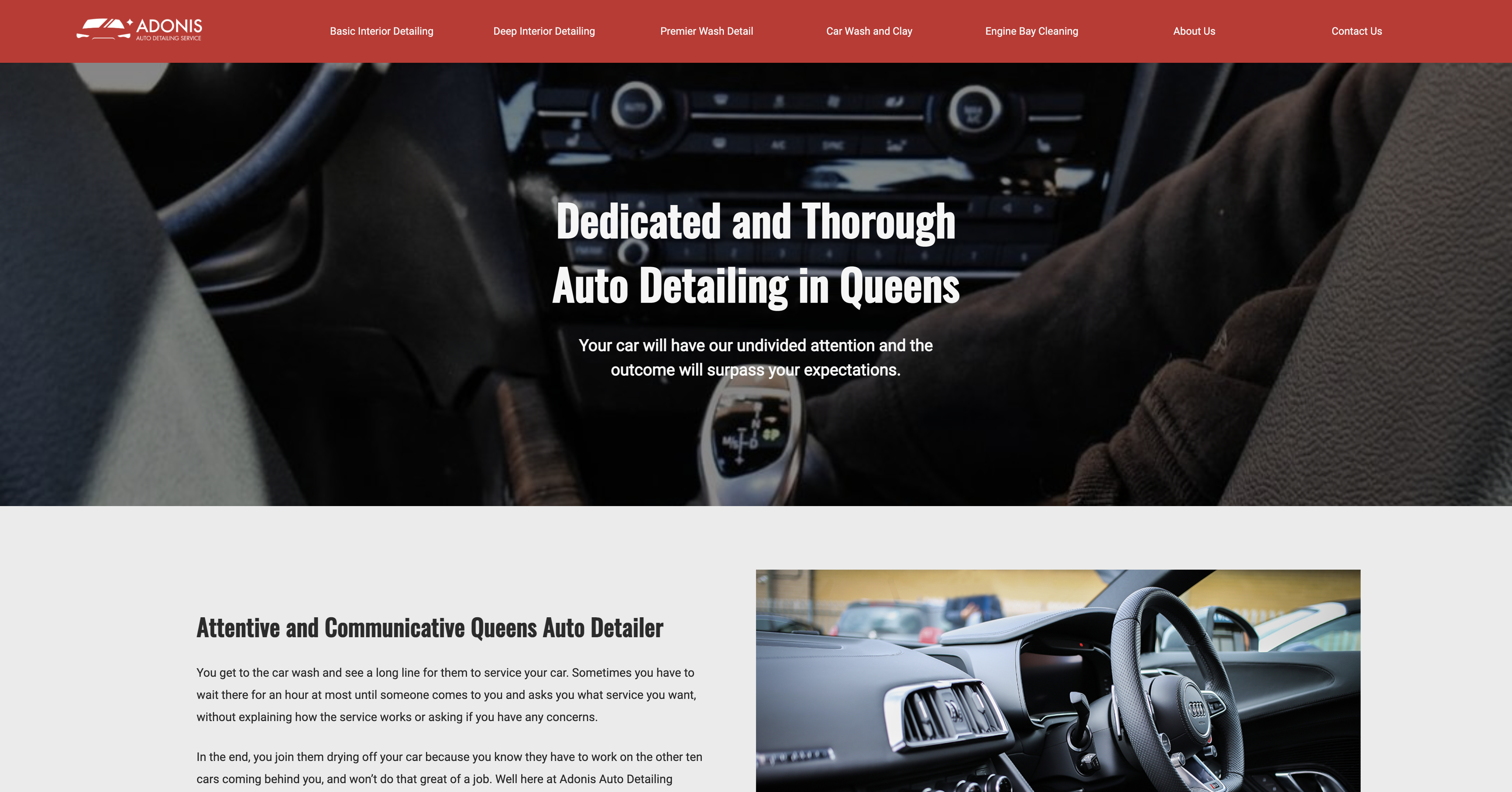 Adonis website homepage