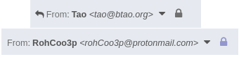 Two lock indicators in Protonmail, almost identical apart from slightly different colors