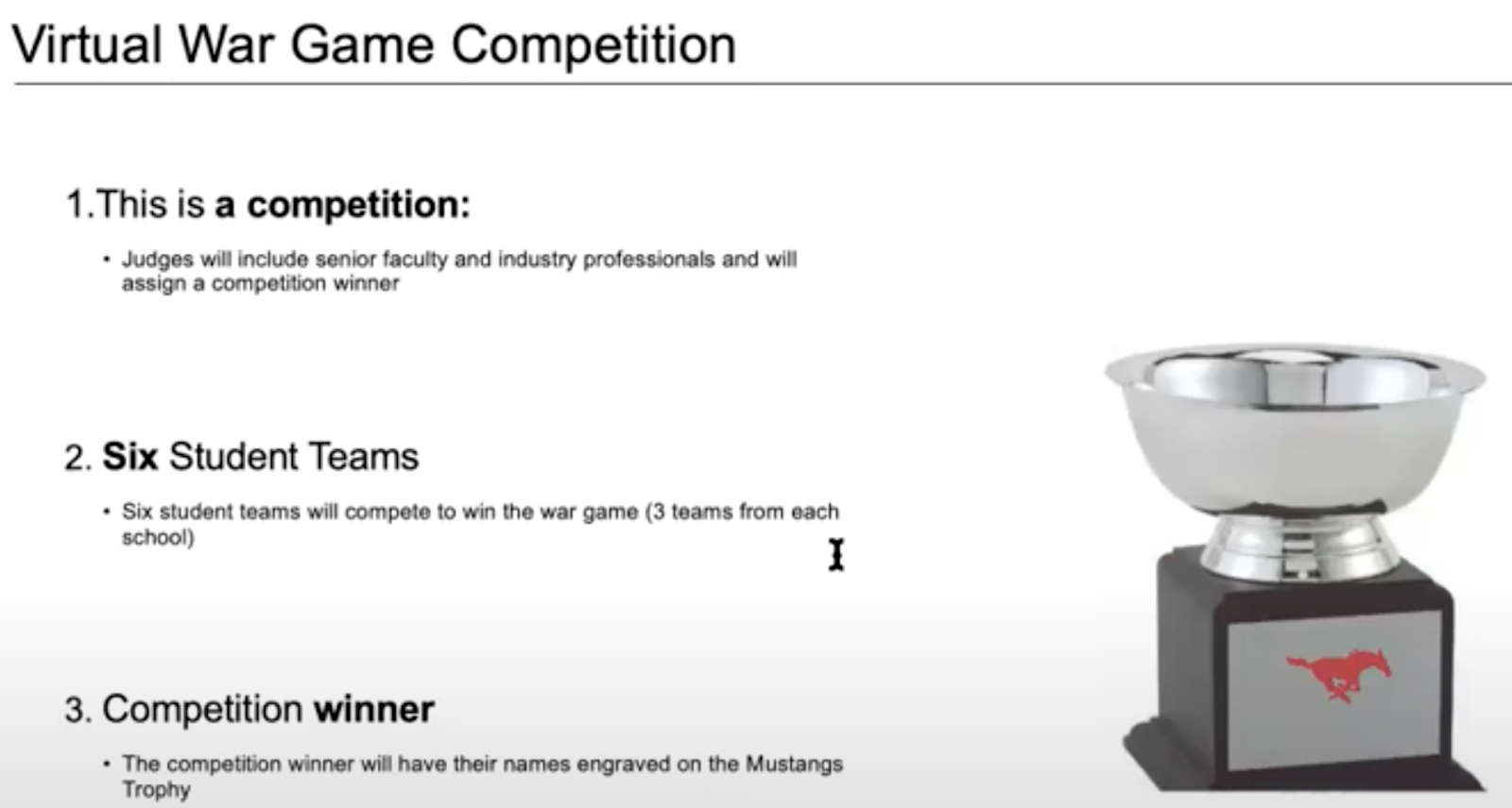 The virtual War Games presentation announces the grand prize: the SMU Cox Mustangs Trophy.