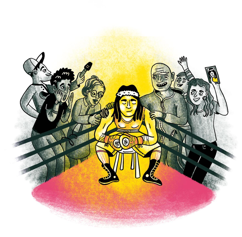 Eine Boxerin im Ring