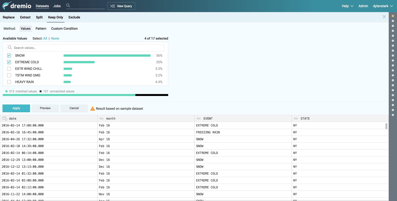 Dremio and D3 tutorial - data filtering