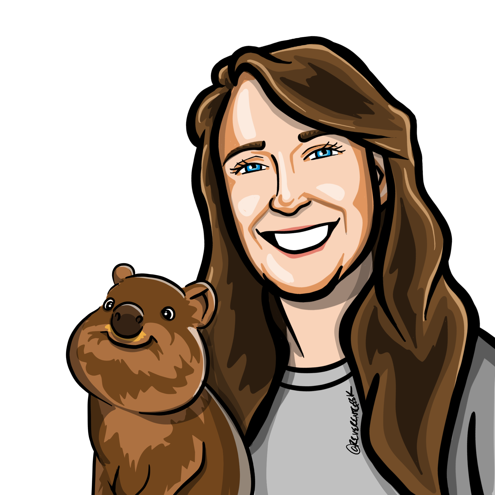 Illustration of Amy and a smiling quokka