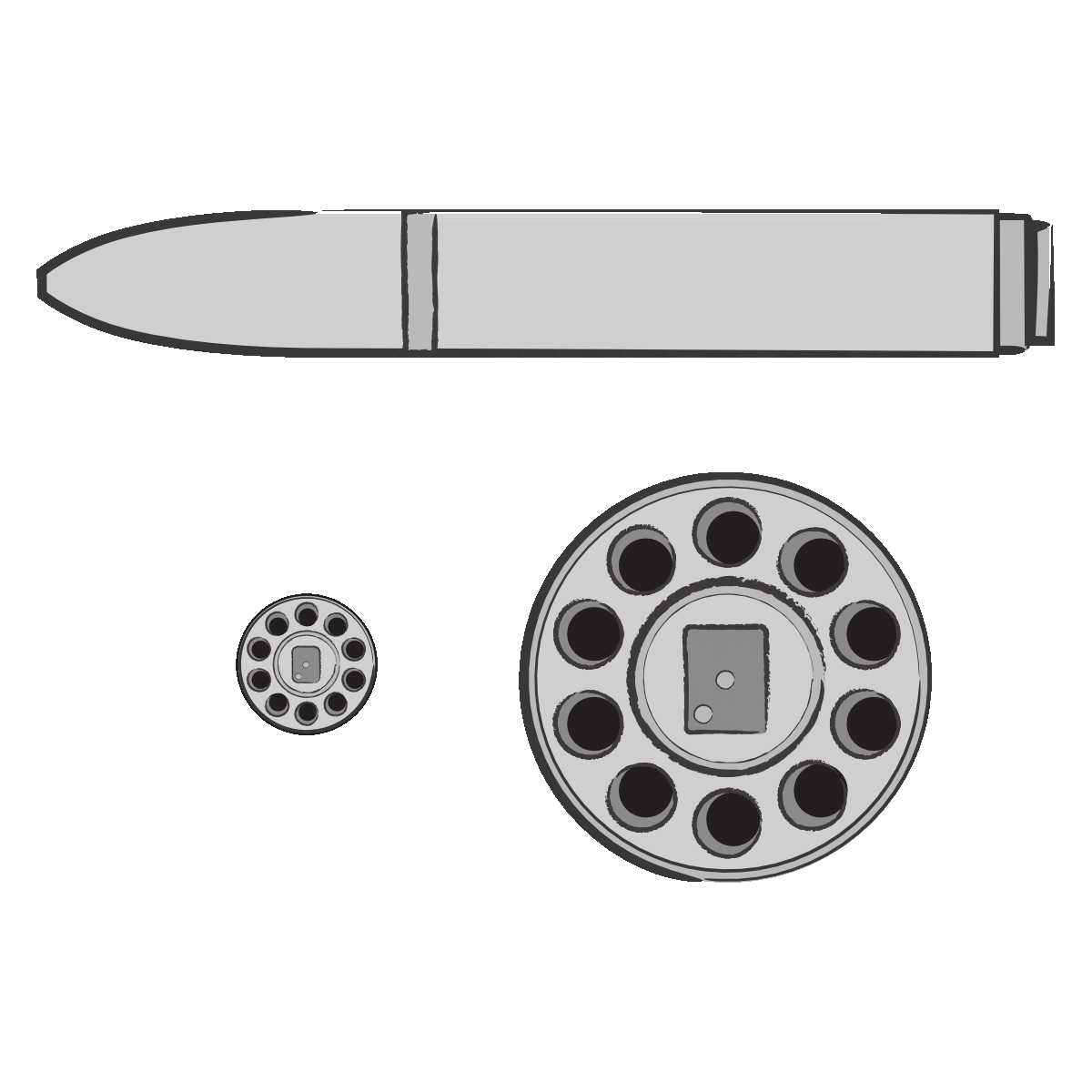 Image shows an illustration that includes the body of an M-14-S artillery rocket and a close-up of the rocket's circular base with ten exhaust nozzles ordered in a circle around a round plate. Next to the illustration of the base is an enlarged version of the same illustration. The M-14-S rocket is depicted in grey. The illustration was commissioned by GPPi and created by Judith Carnaby.
