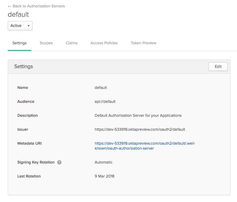 Authorization Server screenshot