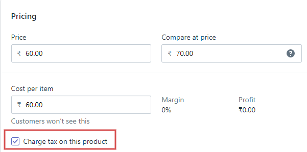 Pricing tax
