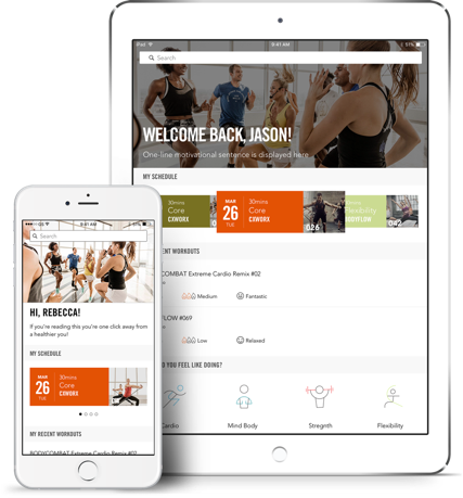 Screenshot of Android and iOS app Les Mills