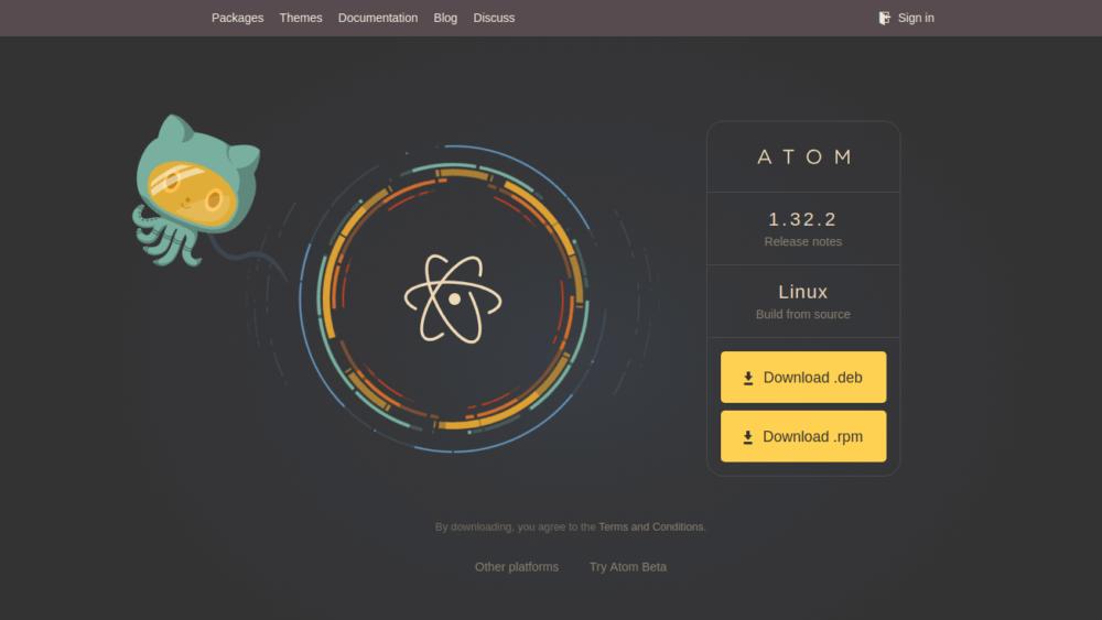 Halaman download installer Atom