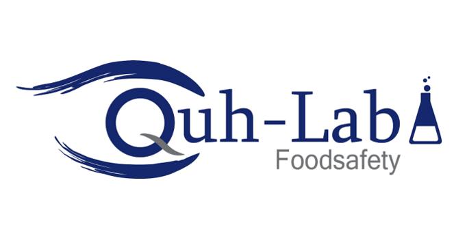 Das Logo von Quh-Lab in blau weiß