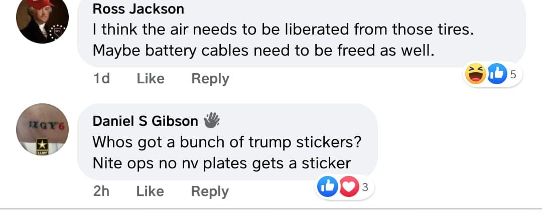 People on a militia page plots to slash tires and put Trump bumper stickers on cars with out-of-state plates.