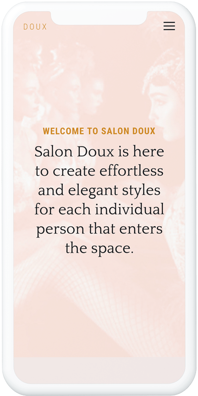 Salon Doux website in iPhone