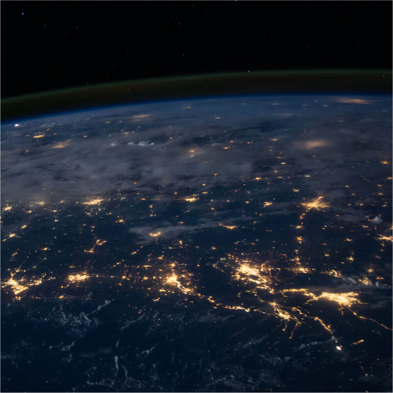 Satellite view of networks spread over earth