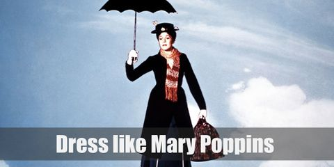 Mary Poppins wears a white button down shirt, a long blue Victorian styled coat, a matching blue skirt, white gloves, a red bow tie, black mary jane shoes with white socks, and a white flower decorated hat.