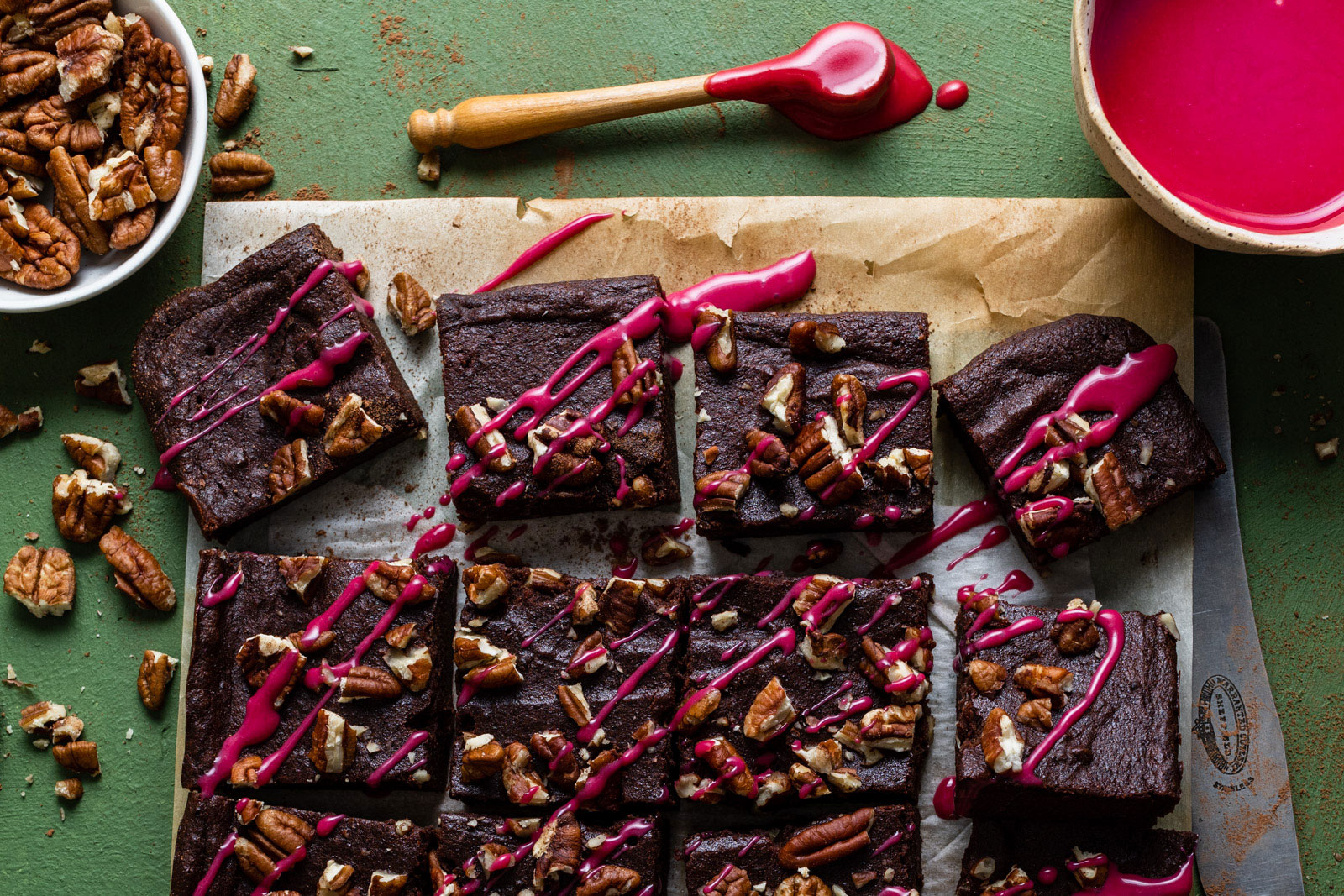 Chocolate Beet Brownies With Pecans and a White Chocolate Beet Glaze