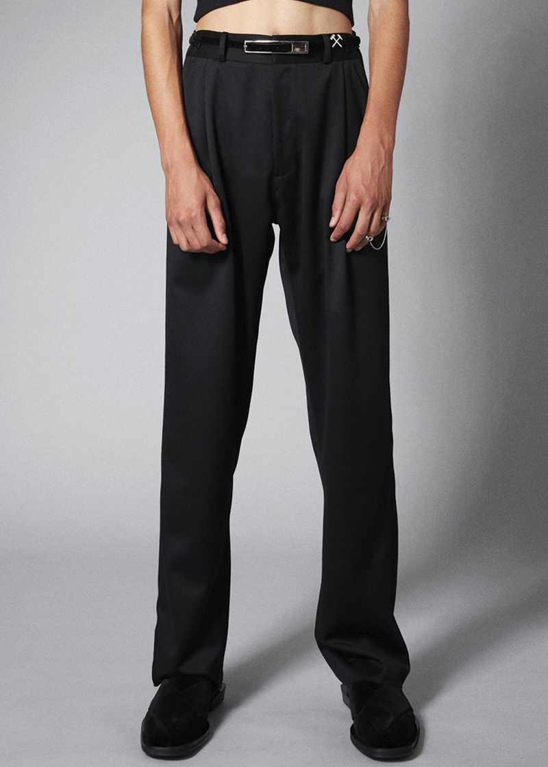 TAREK trouser in black. GmbH Spring/Summer 2021 'RITUALS OF RESISTANCE'