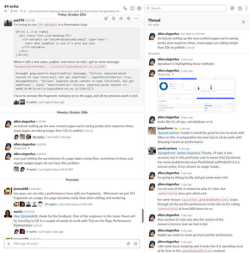 Communication with product teams in Slack