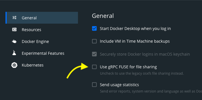A screenshot of the gRPC FUSE file sharing setting