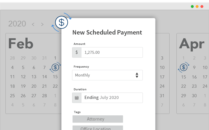 A screen showing a monthly recurring payment for $1275