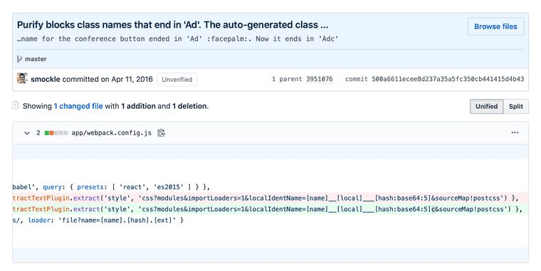 """A commit displayed in GitHub showing a one-line change to the Webpack config from Clay, with the commit message """"Purify blocks class names that end in 'Ad'. The auto-generated class name for the conference button ended in 'Ad' :facepalm:. Now it ends in 'Adc'."""""""