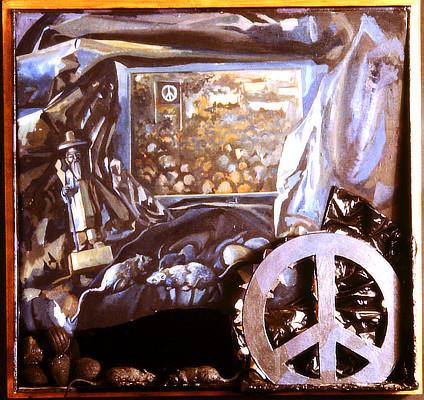 still life painting including CND symbol