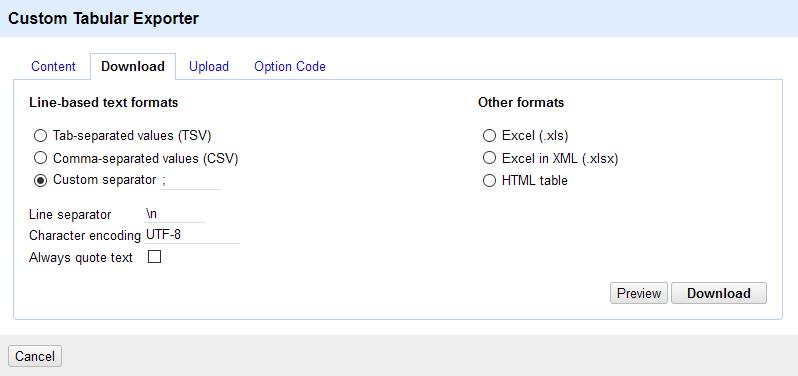 A screenshot of the custom tabular file download tab.
