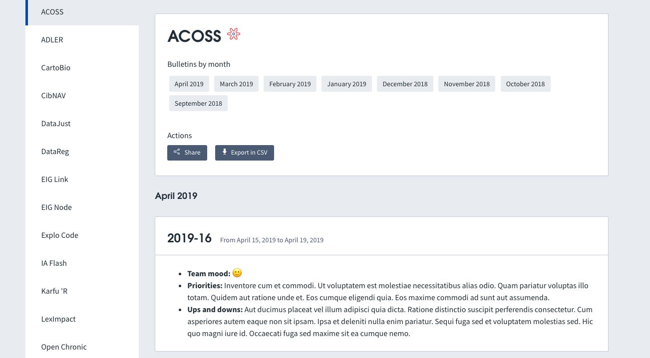 Interface web permettant la consultation des précédentes rétrospectives