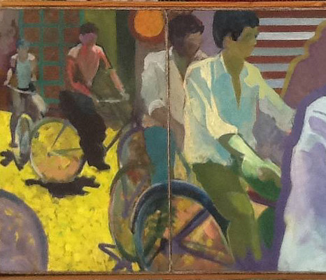 three panel painting of cyclists on bright yellow road