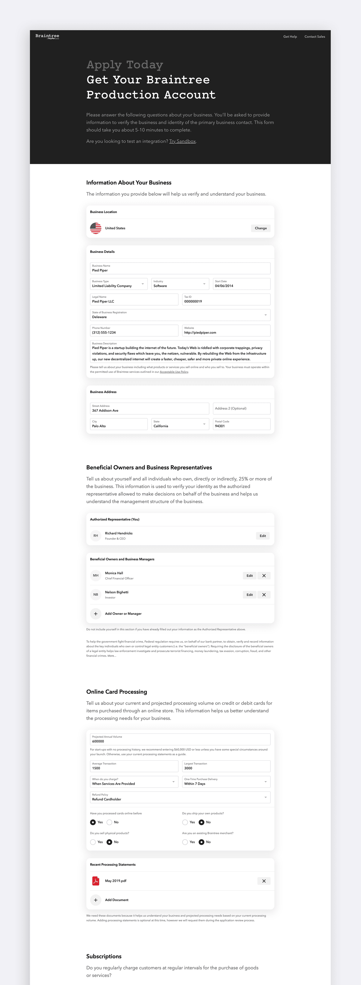 Braintree Onboarding Form - USA