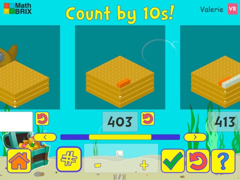 Stairsteps: Complete the pattern by adding or subtracting by 10's, within 1000 Math Game