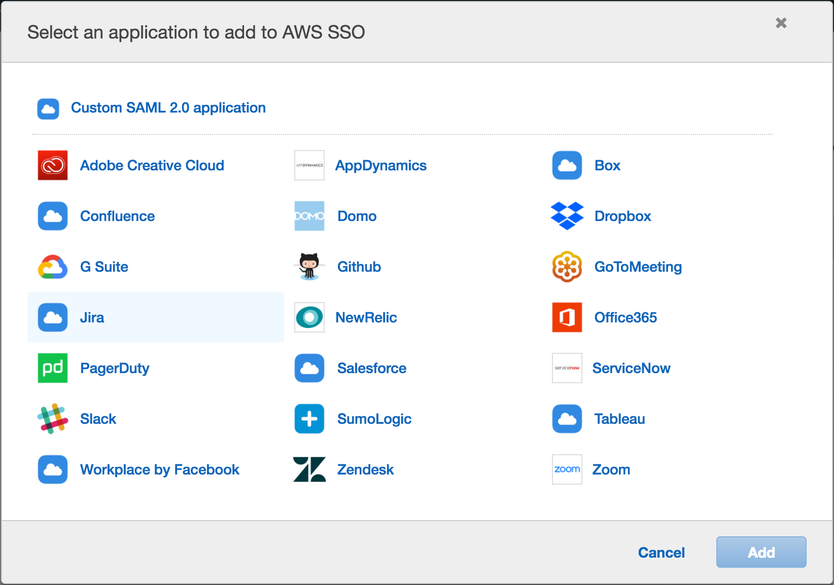 AWS SSO applications