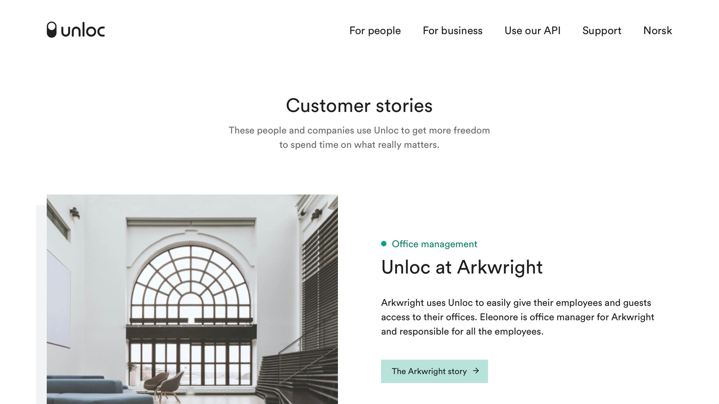 Customer stories overview page