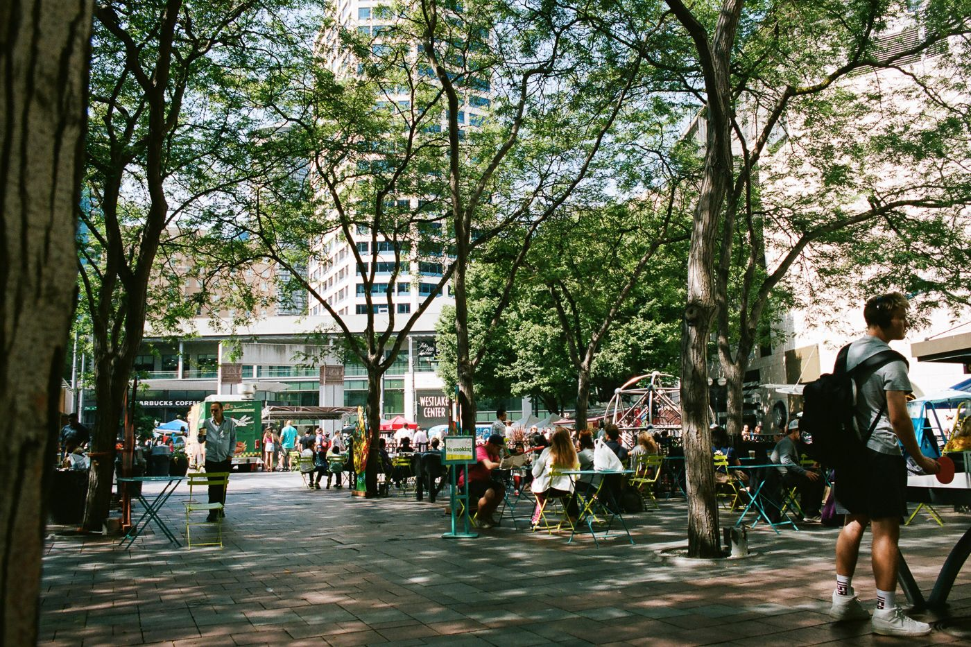 A public space with tables and chairs, where many people are spending time under the shade of trees.