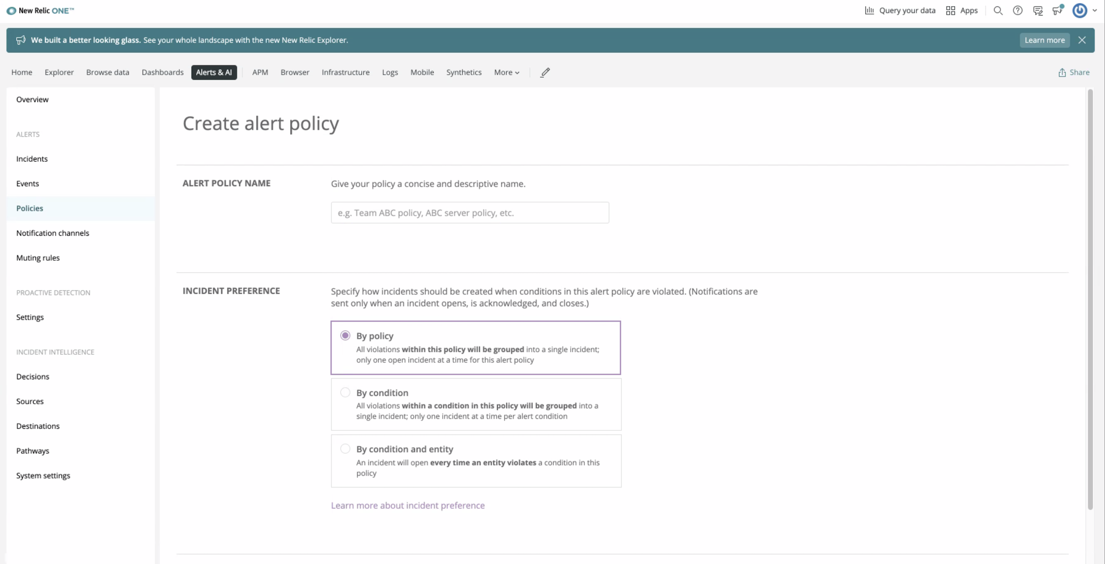 The Create alert policy page.