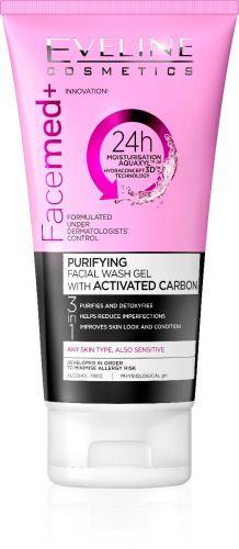 EVELINE Facemed+ 3 az 1-ben tisztító arclemosó aktív karbonnal 150ml