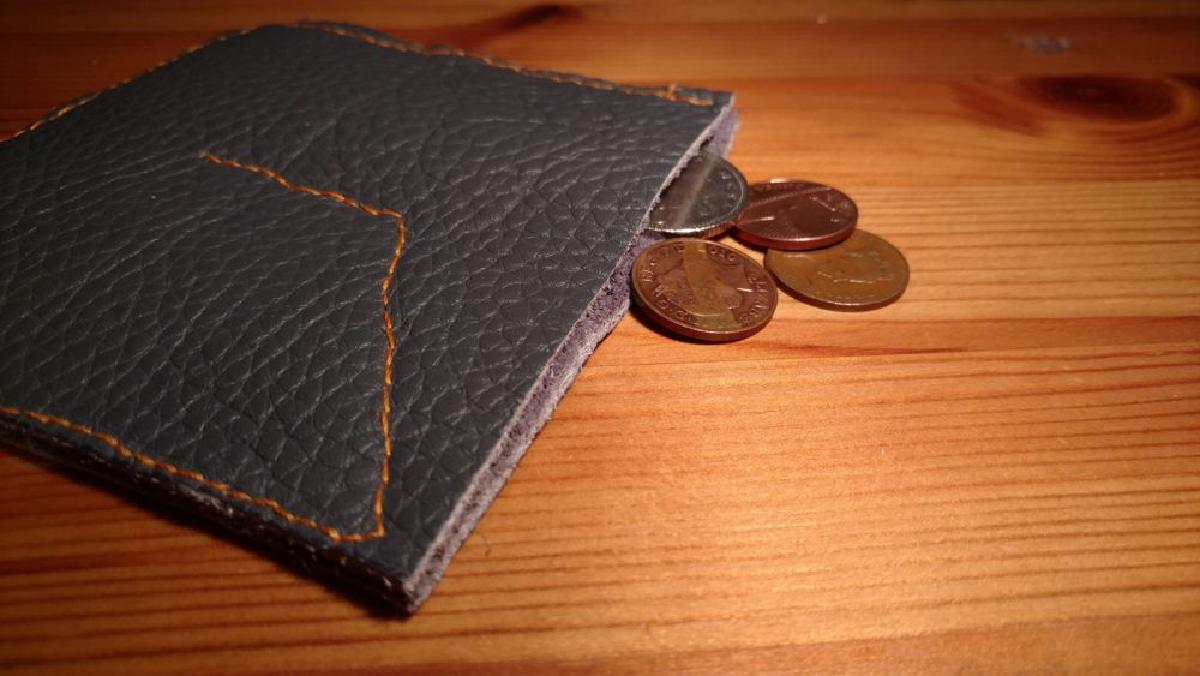 A picture of the coin wallet with coins in