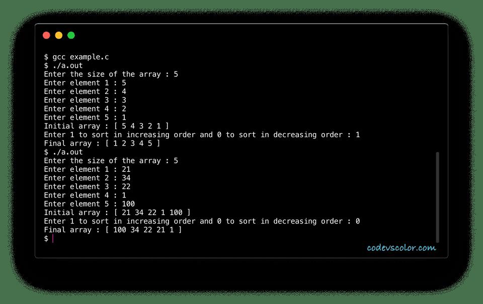 c sort array elements using pointer