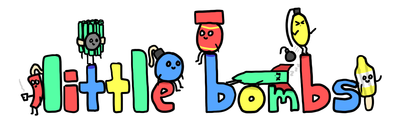 little bombs logo which displays the words 'little bombs' in a bubble letter format and also has most of the main little bombs characters sitting around the various letters