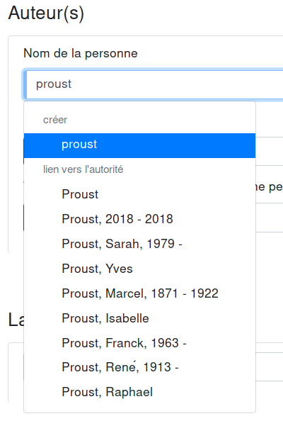Search of an person authority as cataloging a new document screenshot