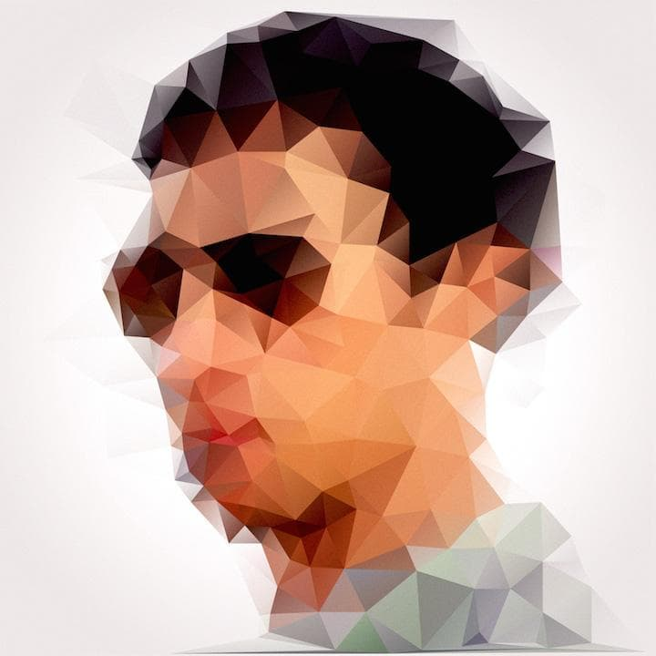 Low-polygon self-portrait of The Astronaut wearing sunglasses