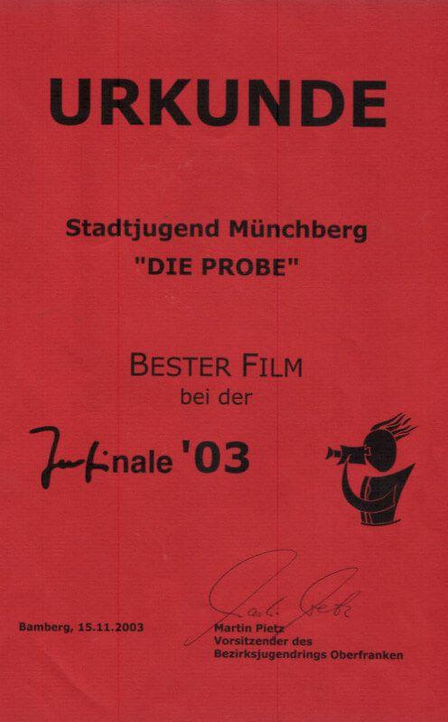 Urkunde JUFINALE 2003