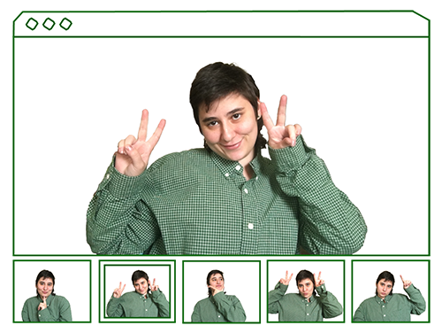 picture of me smiling and making peace signs with my hands, there is a panel of five other images below the large one, mimicing a photobooth