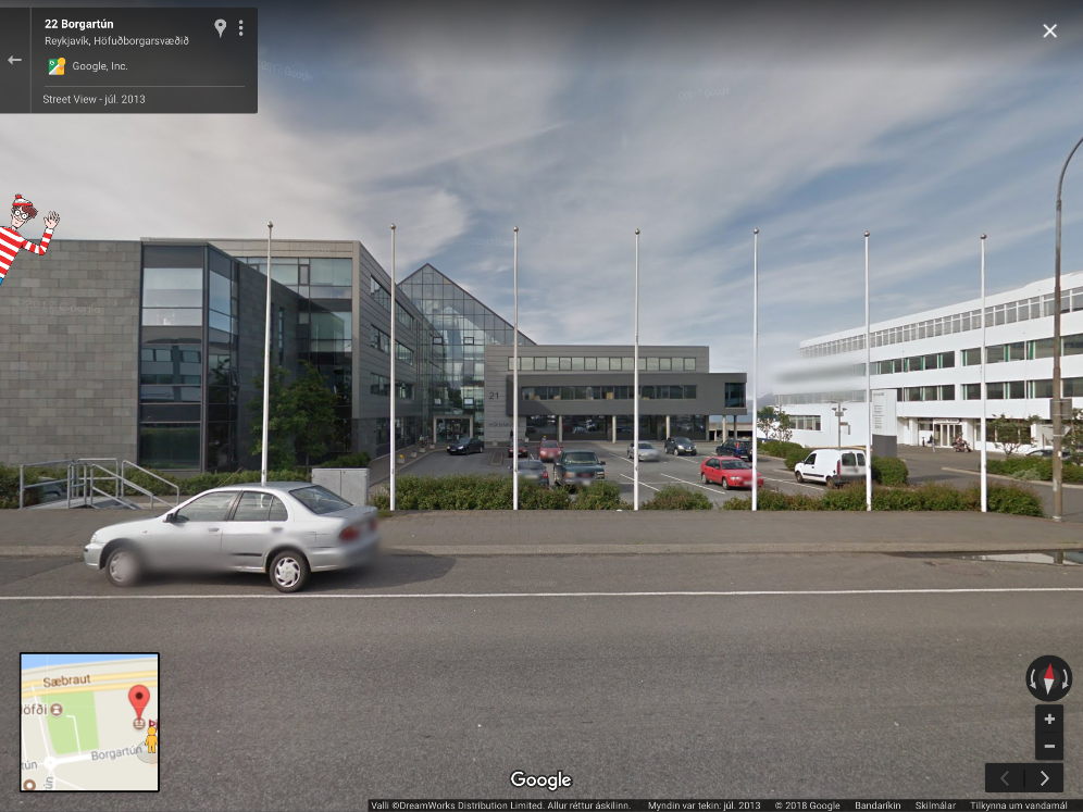 Google Street View screenshot of the Þjóðskrá Íslands building