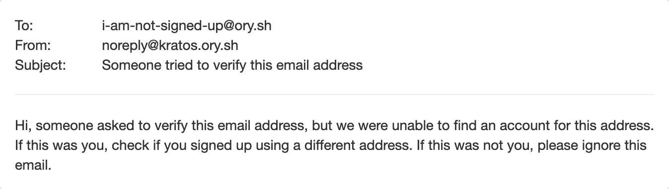 Verification email for unknown address