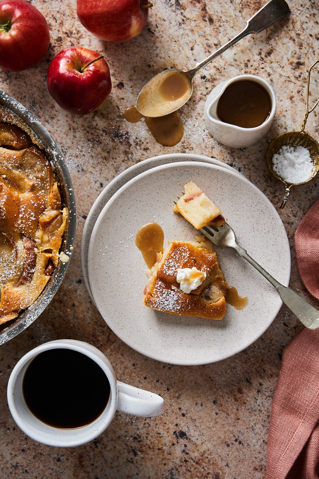 Apple Clafoutis With Caramel Sauce